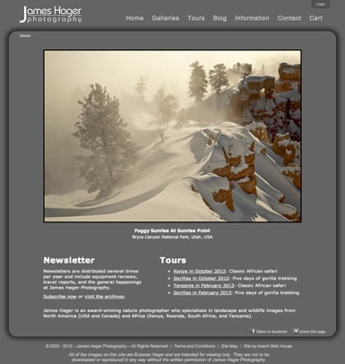 Home page for James Hager Photography