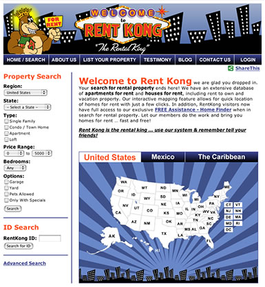 Home page for RentKong